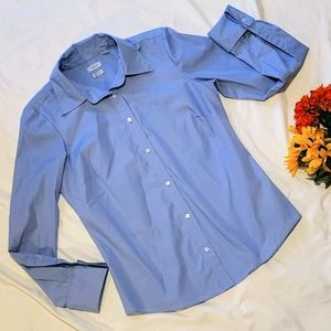 IZOD button up no iron pintuck collared blouse